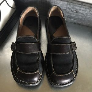Born Black leather and suede flat loafers